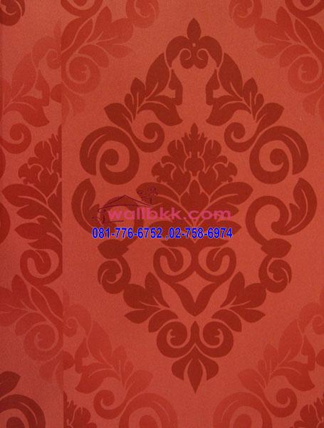 FVE12-66 วอลเปเปอร์ ติดผนัง ลายหลุยส์พื้นสีแดง