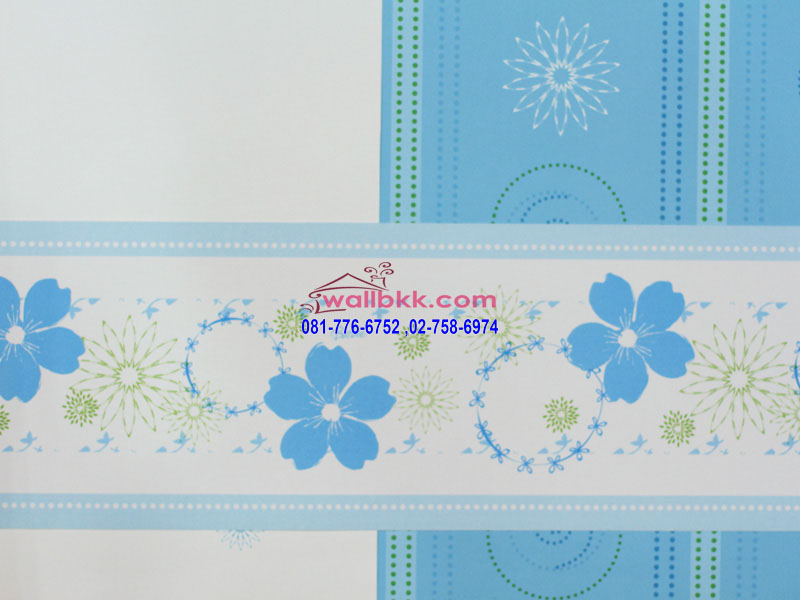 MBA12-054-ลายดอกไม้สีฟ้า-ผลิตจาไวนิล-เช็ดได้