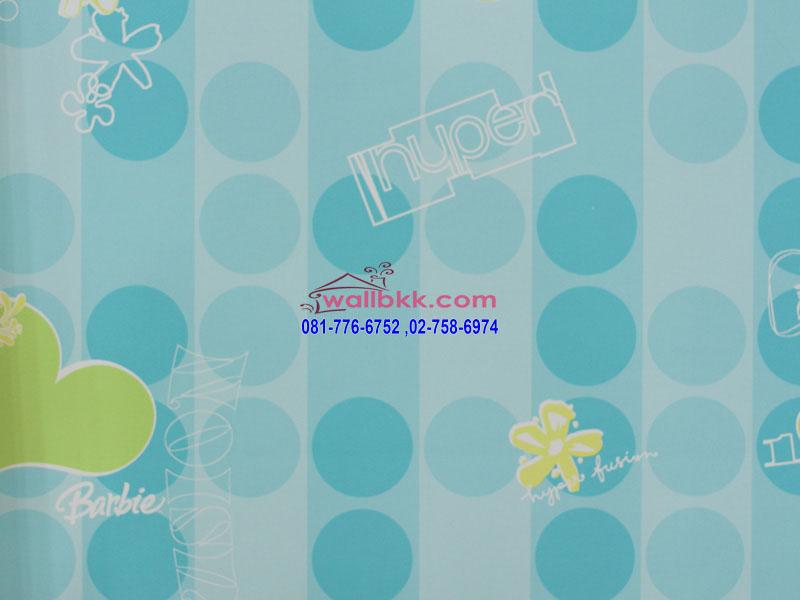 MBA12-056-ลายการ์ตูนตกแต่งห้อง-ลายบาร์บี้-ลายกราฟฟิกวงกลมฟ้า
