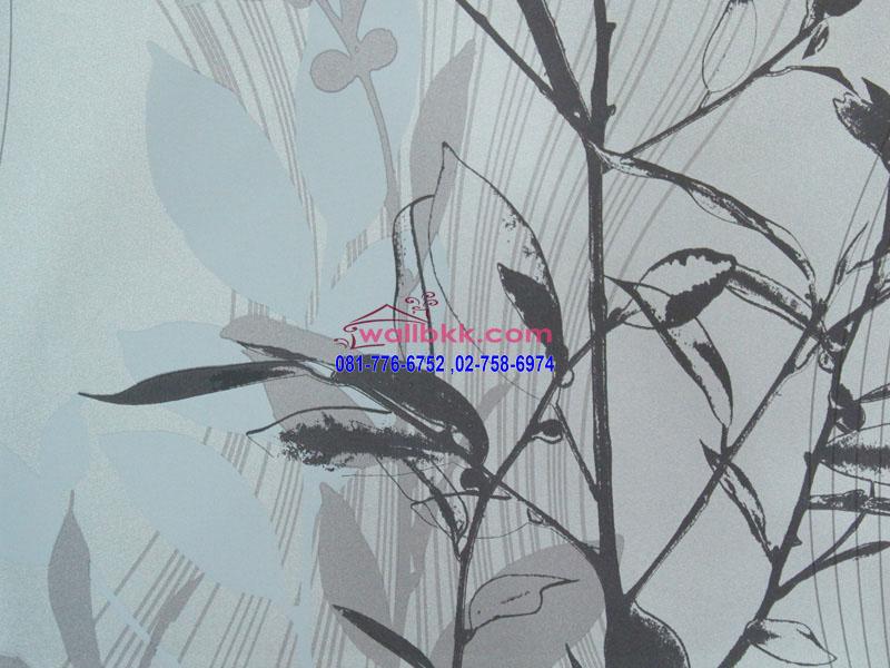 FVE12-53 วอลเปเปอร์ ติดผนัง ลายโมเดิร์นรูปใบไม้พื้นสีน้ำเงิน