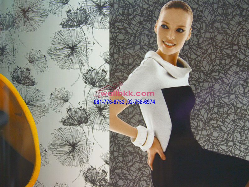 FVE12-59 ตัวอย่าง วอลเปเปอร์ ลายโมเดิร์นรูปดอกไม้และลายเส้น