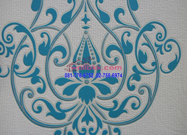 MMR12-04 วอลเปเปอร์ลายหลุยส์สีฟ้าเขียว วอลเปเปอร์ติดผนังสวยๆ