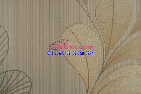 MSH45-001 วอลเปเปอร์ติดผนังนำเข้าจากเกาหลีพื้นสีครีมลายใบไม้
