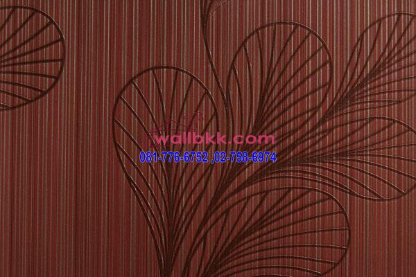 MSH45-002 วอลเปเปอร์ติดผนัง นำเข้าจากเกาหลี พื้นแดงลายใบไม้
