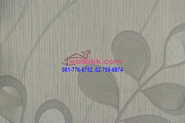 MSH45-012 วอลเปเปอร์เกาหลี สีขาวเทา ลายใบไม้