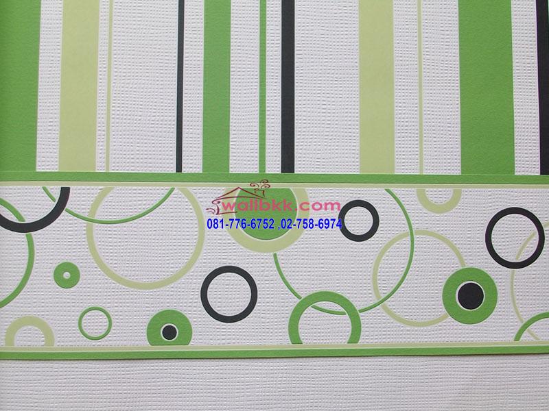 MSL12-016 วอลล์เปเปอร์ติดผนัง กราฟฟิกลายทางเขียวขาว