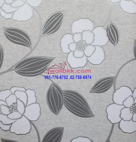 MSL12-036 wallpaper ลายโมเดิร์นรูปดอกไม้พื้นสีเทา
