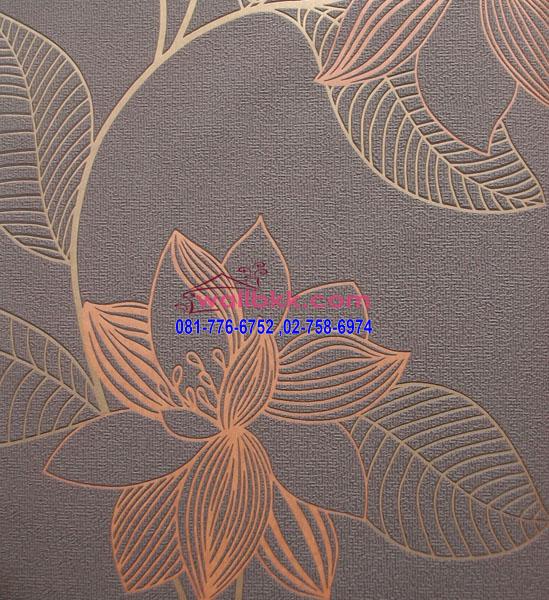 MSL12-038 wallpaper ลายโมเดิร์นรูปดอกไม้พื้นน้ำตาล